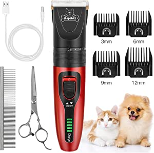 Slopehill Dog Clippers, Cordless Dog Grooming Kit USB Rechargeable Electric Pets Hair Trimmers Professional Shaver Shears for Dogs and Cats, Quiet, Washable, with LED Display