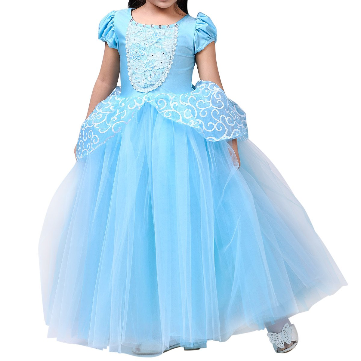 Enterlife Girls Princess Costume Cinderella Dress Special Edition Blue Party Deluxe Costume Disney Dress-up Set Halloween