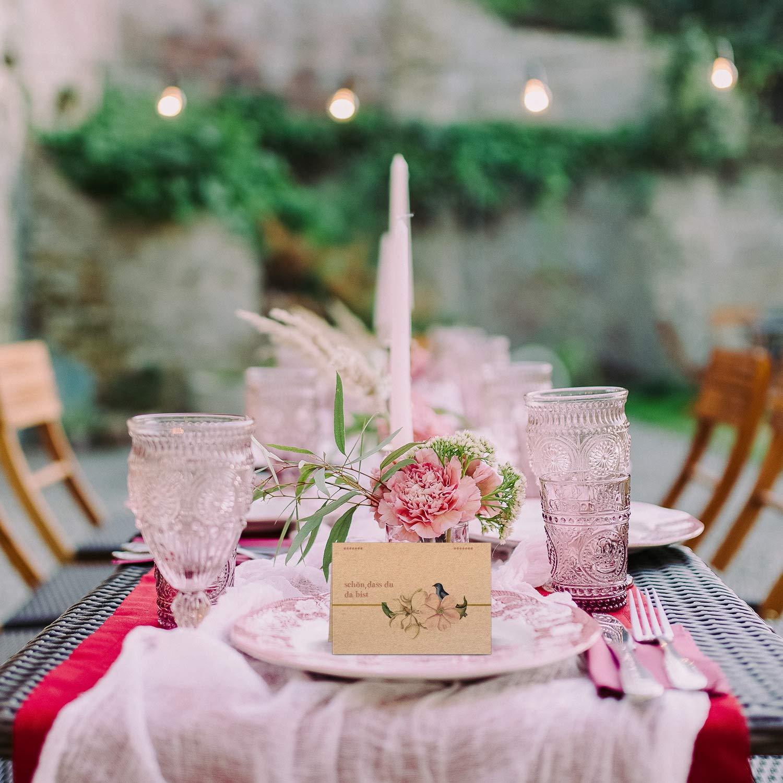 Kommunion DIN A7, Kraftpapier V/ögel Taufe Partycards 50 Tischkarten//Platzkarten DIN A7 f/ür Hochzeit Geburtstag