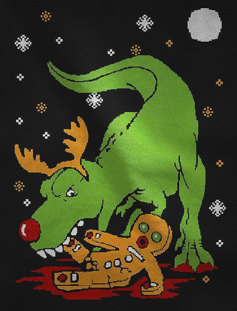 T-Rex Biting Gingerbread Funny Ugly Christmas Singlet TeeStars