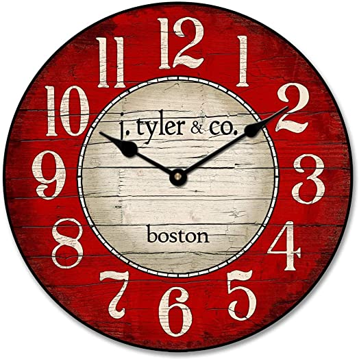 Boston Harbor Red Wall Clock, Available in 8 Sizes, Most Sizes Ship 2-3 Days,