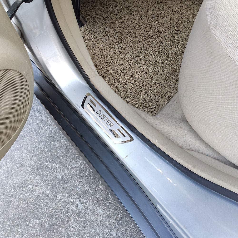 HJHNB 4 pi/èces Protecteur de seuil de Porte de Voiture pour Dacia Renault Duster 2010 2012 2019 Garniture de Protection de seuil de p/édale dusure Accessoires de Garniture Acier Inoxydable