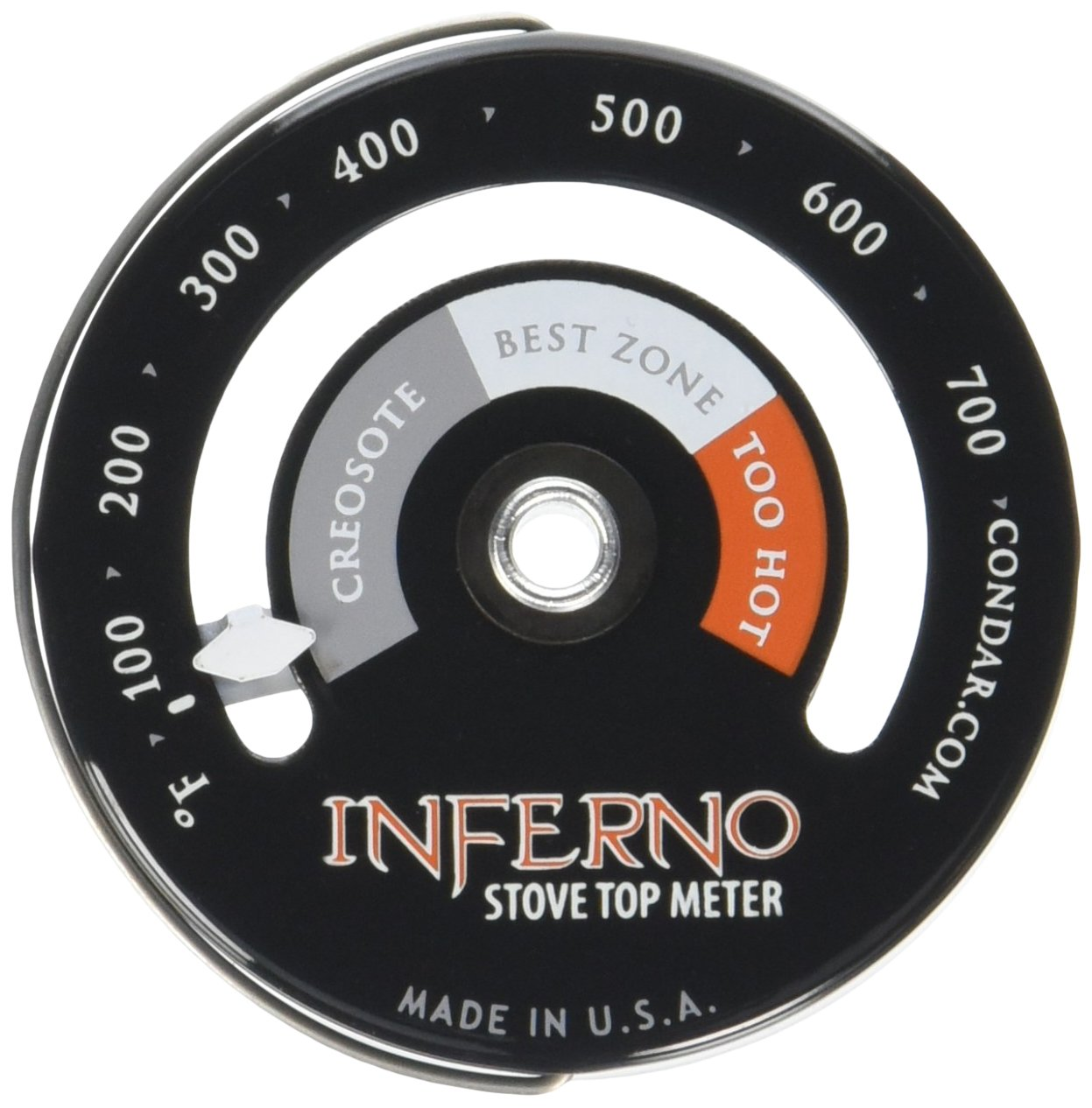 Inferno Stove Top Meter (3-30) thermometer calibrated to measure temperatures on stove top.