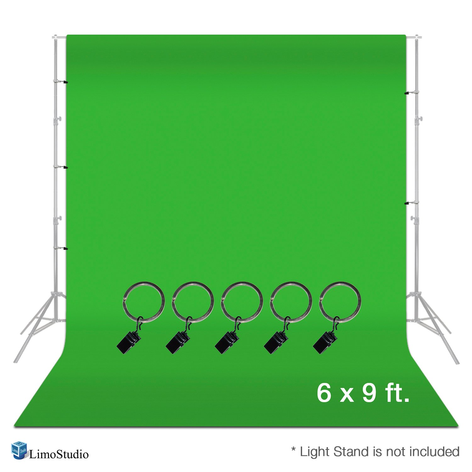 LimoStudio, AGG1338, Photo Video Studio 6 x 9 feet Green Muslin Backdrop Muslin with Backdrop Ring Holder Clip, Backdrop Stands Not Included