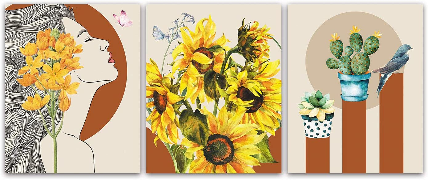 """Modern Abstract Pastoral Sunflower Flower Literary Woman Poster Art Painting Set of 3 (8""""X10"""" Canvas Picture) Girls Bedroom Living Room Bathroom Art Prints Apartment Decor Home Decor Unframed"""