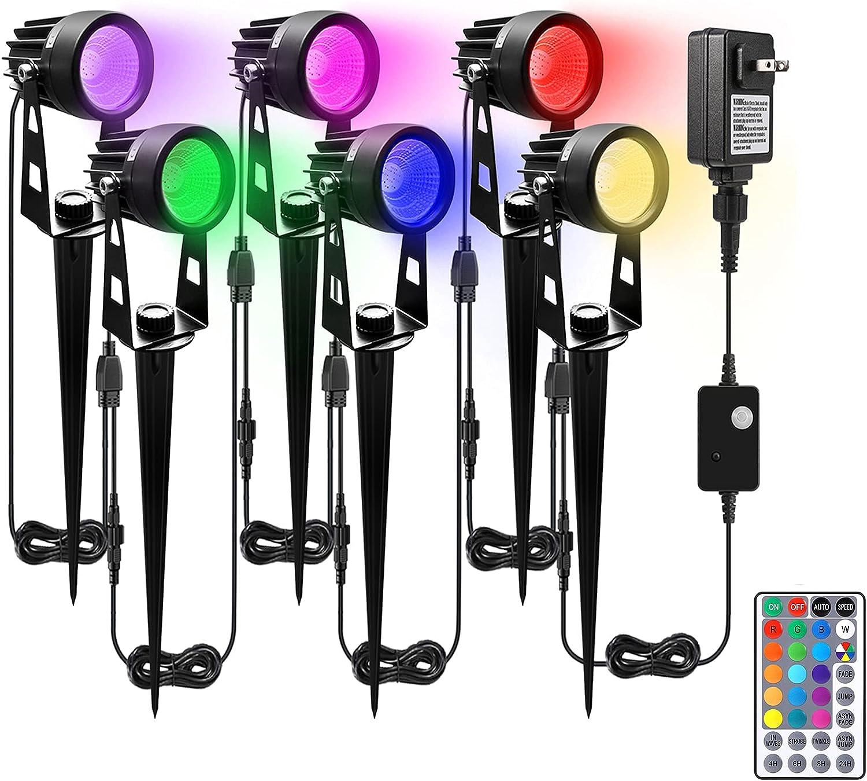 ALOVECO Landscape Lighting, 12V RGB LED Landscape Lights Remote Control, 16 Colors Changing Waterproof Adjustable Garden Lights COB Led Spotlight Plug in Outdoor for Patio Deck Yard Garden Driveway