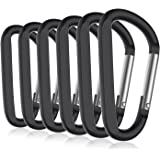 """6PCS 3"""" Aluminum Carabiner Keychain Clip with Keyring, Light Durable Round Shape Nonlocking Caribeaner Hook Buckle for Outdoor Camping EDC Key Chain Ring"""