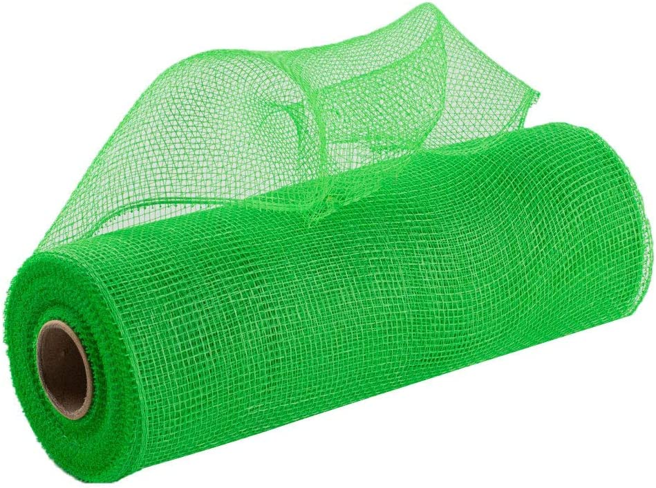 """Apple Lime Green Deco Mesh - 10"""" x 10 Yards, Christmas Wreath Ribbon Roll, Spring Decoration, Tree Topper, Bows, Gifts, Garlands"""