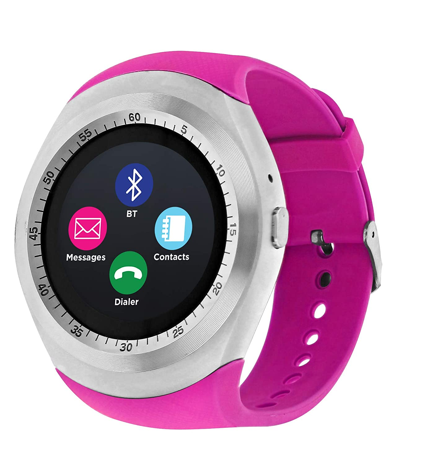 iTOUCH Curve Bluetooth Smart Watch Phone and Fitness Activity Tracker Touch Screen Smart Wrist Watch, Silver/Fuchsia