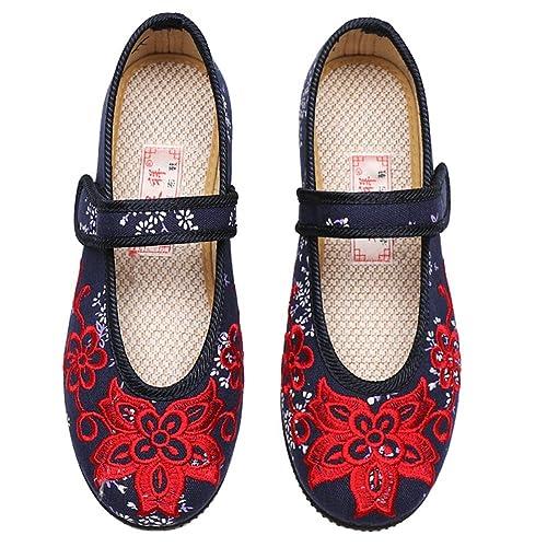 Zapatos de Mujer Tela Primavera Verano Confort Alpargatas Zapatos Bordados Planos Talón Plano Cerrado con Cordones