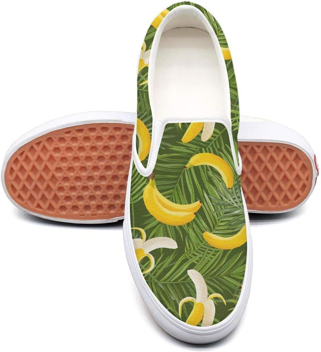PDAQS Men Tropica palm tropical banana casual loafers Canvas Shoes low top
