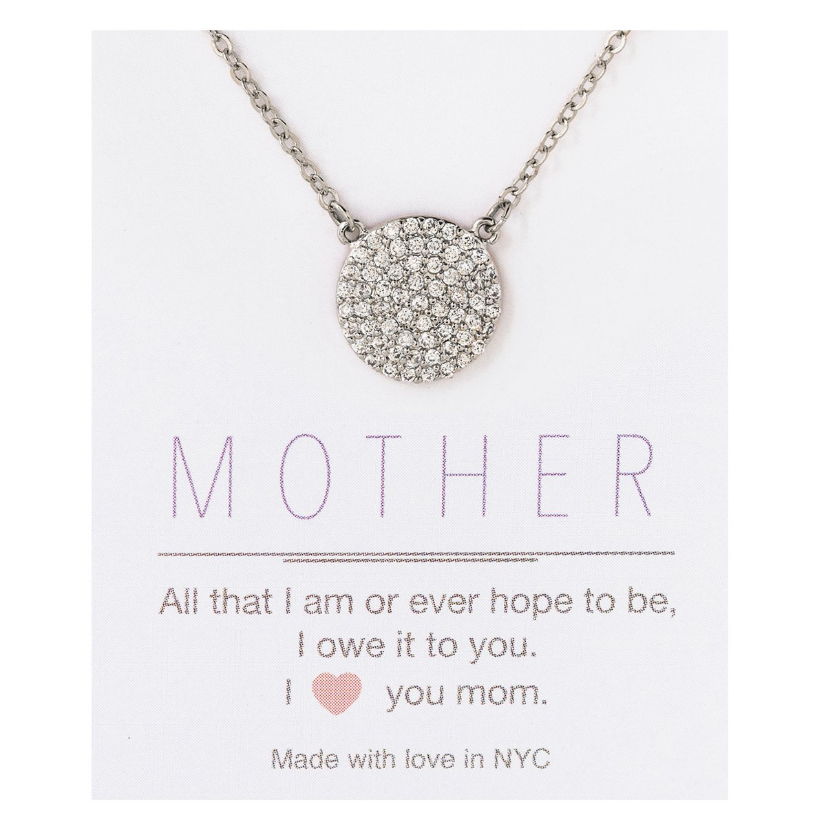 AMY O Mom Message Card, Silver Necklace, Gifts for Mothers, Personalized Mom Gift