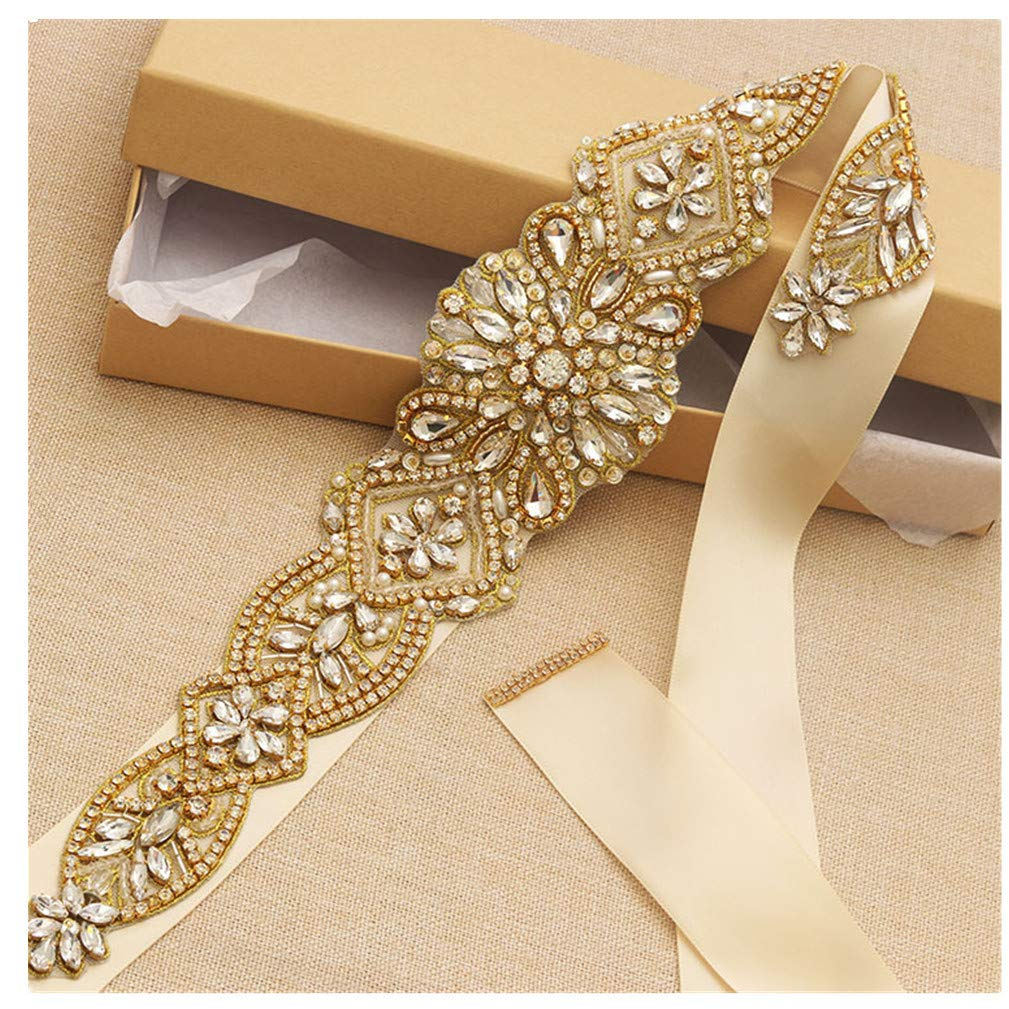 Crystal Wedding Belts Satin Rhinestone Wedding Dress Sash Wedding Accessories Bridal Sash Gold by SRES (Image #1)