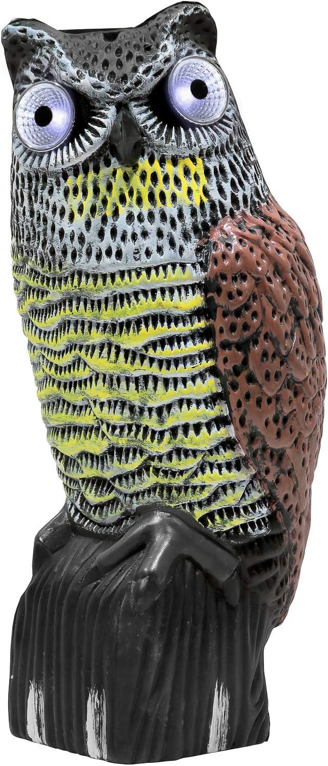 Galashield Owl Decoy to Scare Birds Away Scarecrow Fake Owl with Solar Powered LED Lights Eyes