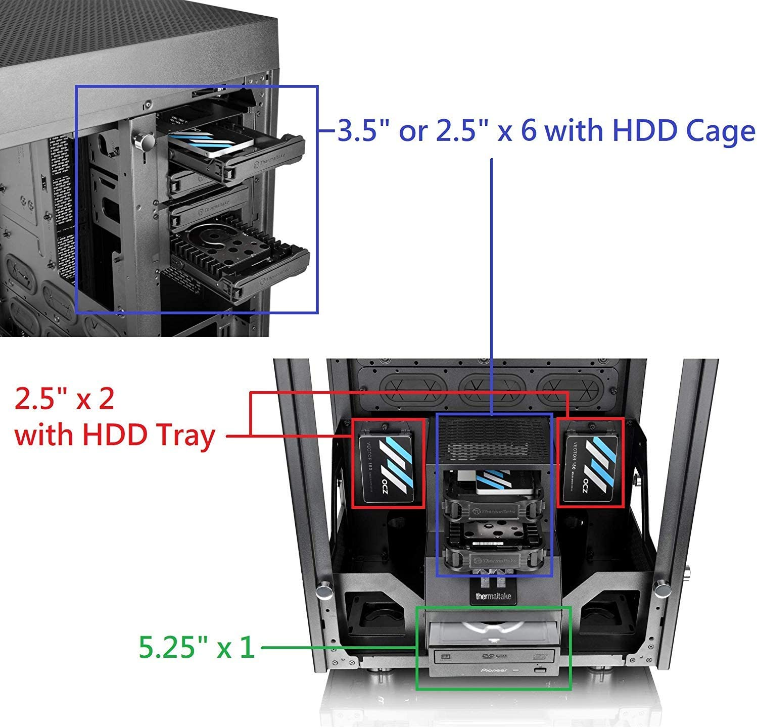 Tower 900 Black Edition Tempered Glass Fully Modular E-ATX Vertical Super Tower Computer Chassis CA-1H1-00F1WN-00