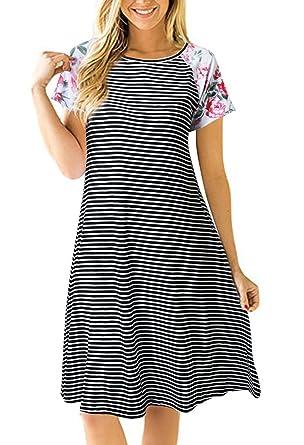 d4795e366172 Uideazone Fashion Floral Stripe Crew Neck T Shirt Dress Women Loose A Line  Dress Small