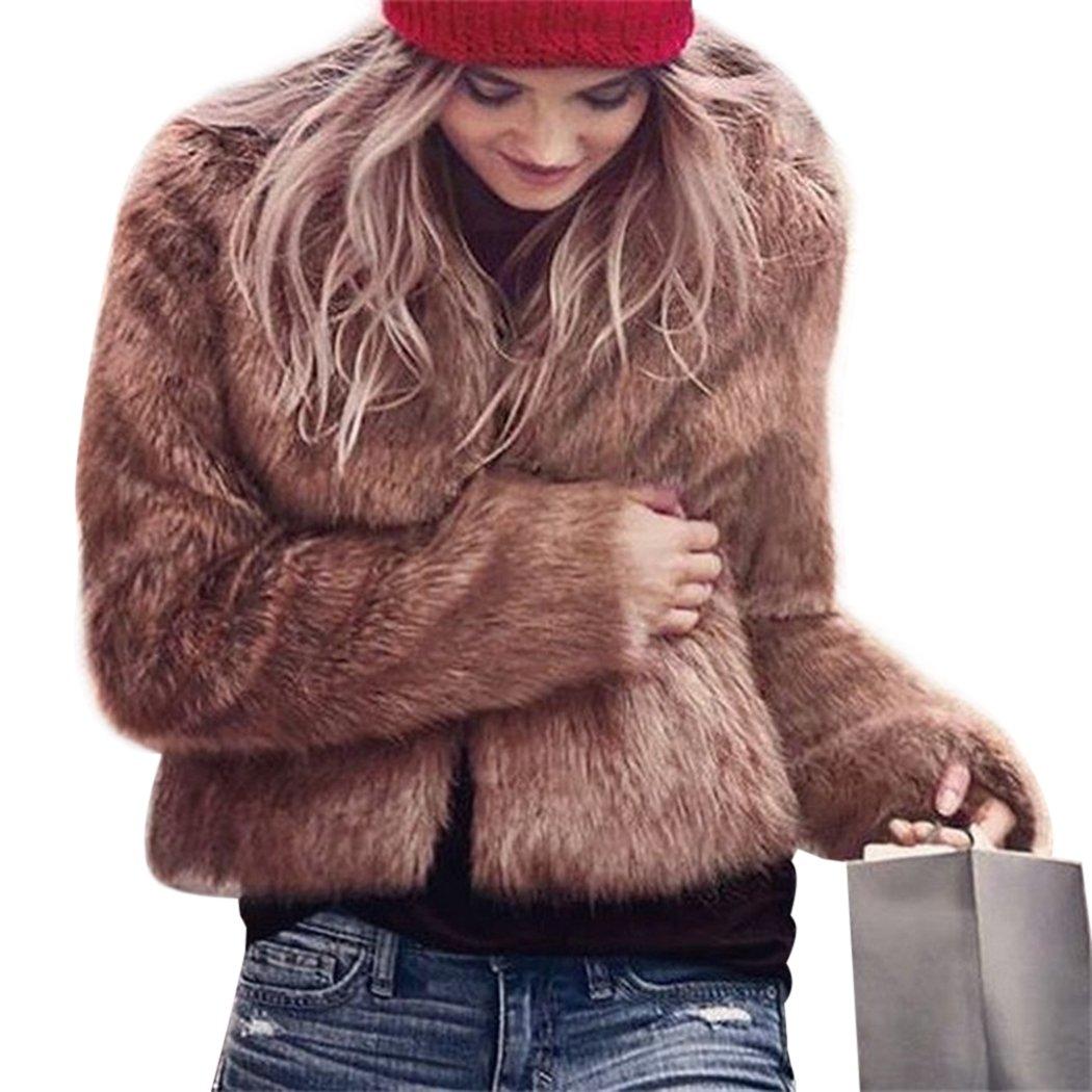 MIOIM Women Winter Warm Faux Fur Coat Long Sleeve Short Fluffy Outerwear Jacket 1741231079358