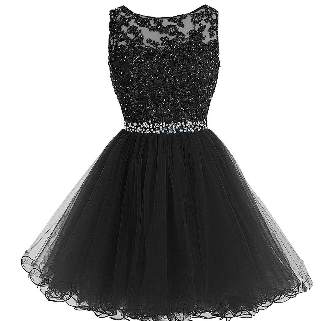 Aiyi Sheer Bateau Beaded Lace Tulle Short Prom Homecoming Dresses Plus Size Little Black US 24W