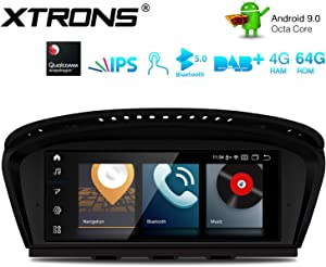 XTRONS 8.8 Inch IPS Touch Display Car Stereo Android 9.0 Octa Core 4GB RAM 64GB ROM GPS Navigator with iDrive System Retained Supports Car Auto Play WiFi DVR TPMS for BMW 3 Series 5 Series E90 E60 CIC