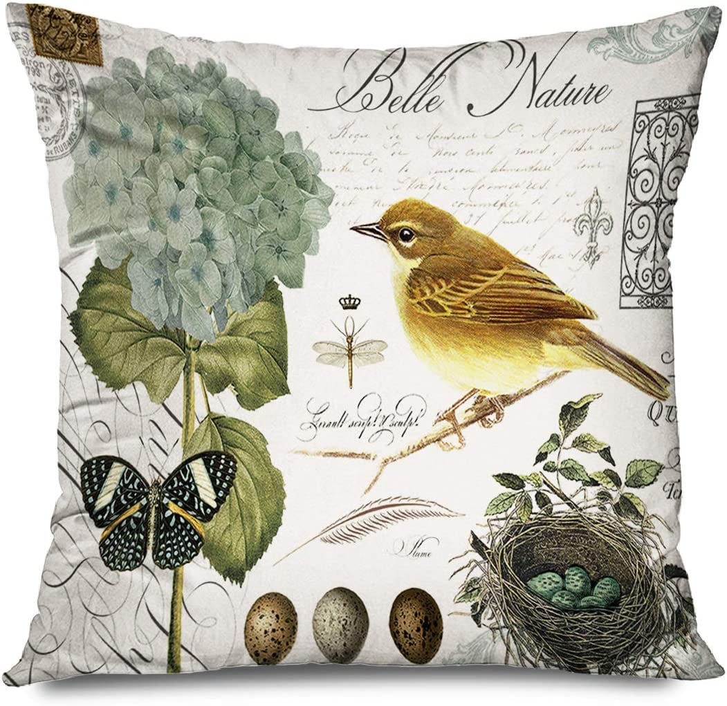 FAREYY Rustic Pillowcase Vintage Adorable Animals Bird Flower Butterfly Nature Decorative Throw Pillows Cushion Cover for Bedroom Sofa Living Room 16 x 16 Inches