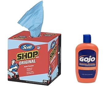 Scott toallas de tienda de pop-up caja Plus Gojo Natural Orange Piedra Pómez MANO