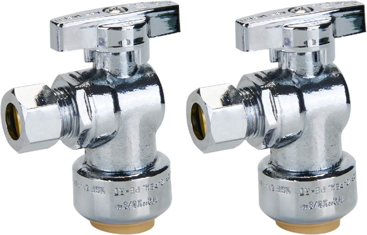 """SUNGATOR PushFit Angle Stop Valve, 1/2"""" Ptc x 3/8"""" Compression Angle Shut Off Water Valve, Push-to-Connect, PEX, Copper, CPVC, Quarter-Turn ON/Off, Lead Free Certified (2-Pack)"""