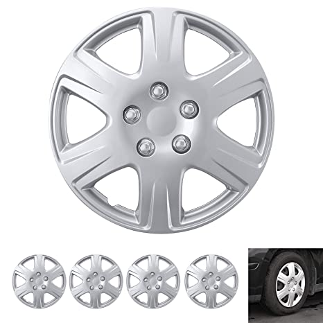 """BDK Wheel Guards – (4 Pack) Hubcaps for Car Accessories Wheel Covers Snap Clip-On Auto Tire Rim Replacement for 15 inch Wheels 15"""" Hub Caps (Replica ..."""