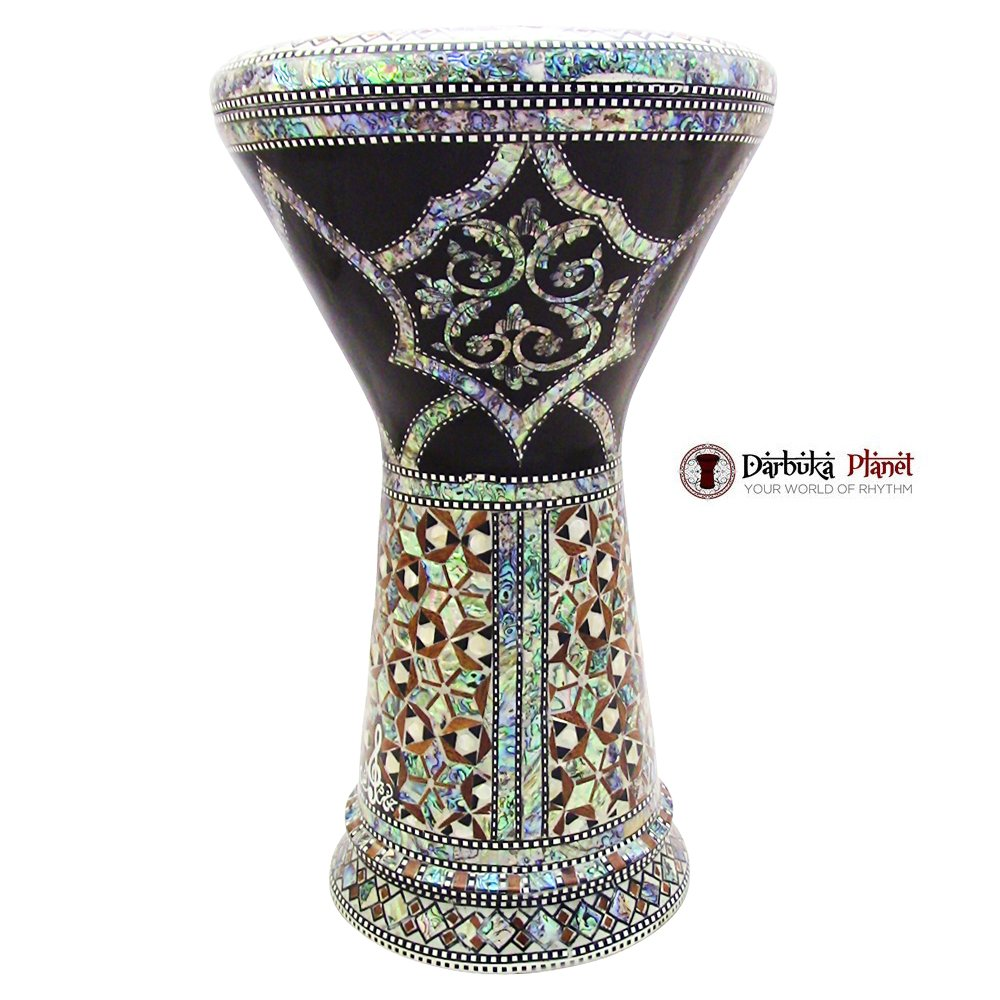 The Black Flower Gawharet El Fan 18.5'' Darbuka Doumbek Drum Sombaty Size With Real Green Mother of Pearl by Gawharet El Fan