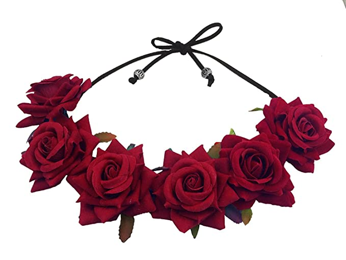 34c369e09e Floral Fall Rose Red Rose Flower Crown Woodland Hair Wreath Festival  Headband F-67 (