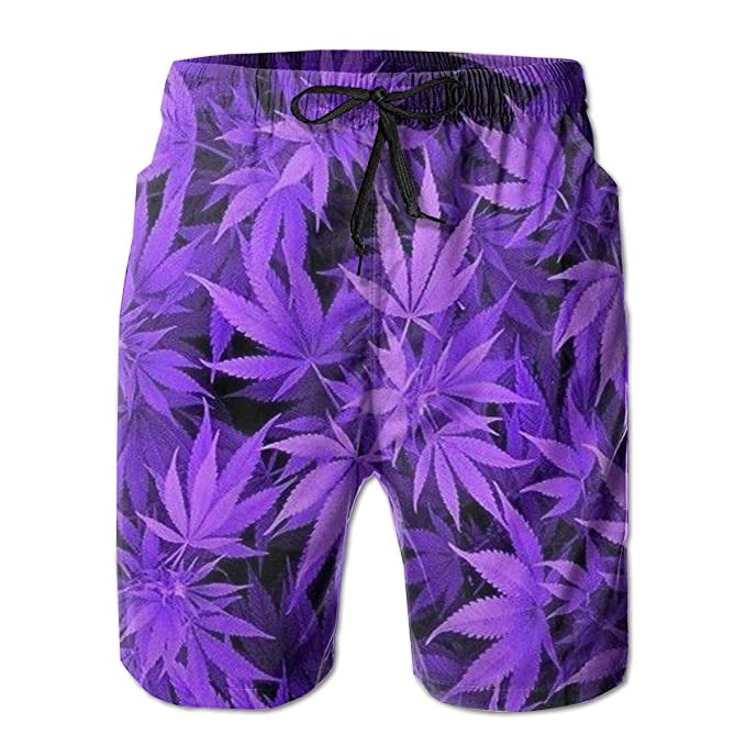 Mens Swim Trunks Purple Weed Leaves Quick Dry Beach Board Shorts with Mesh Lining