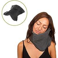 Almohada de viaje cervical viscoelástica y cómoda, ideal para el avión o el coche. Cojín reposacabezas de viaje para cuello y cervicales que cuida de tu salud. Calidad premium