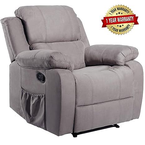 Amazon.com: Masaje reclinable de piel sintética con calor y ...