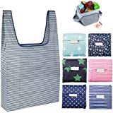 Candygirl Folding Reusable Grocery Bags 6 Pack Shopping Bags Fits in Pocket, Eco-Friendly Ripstop Nylon Holds Heavy Groceries, Waterproof and Machine Washable