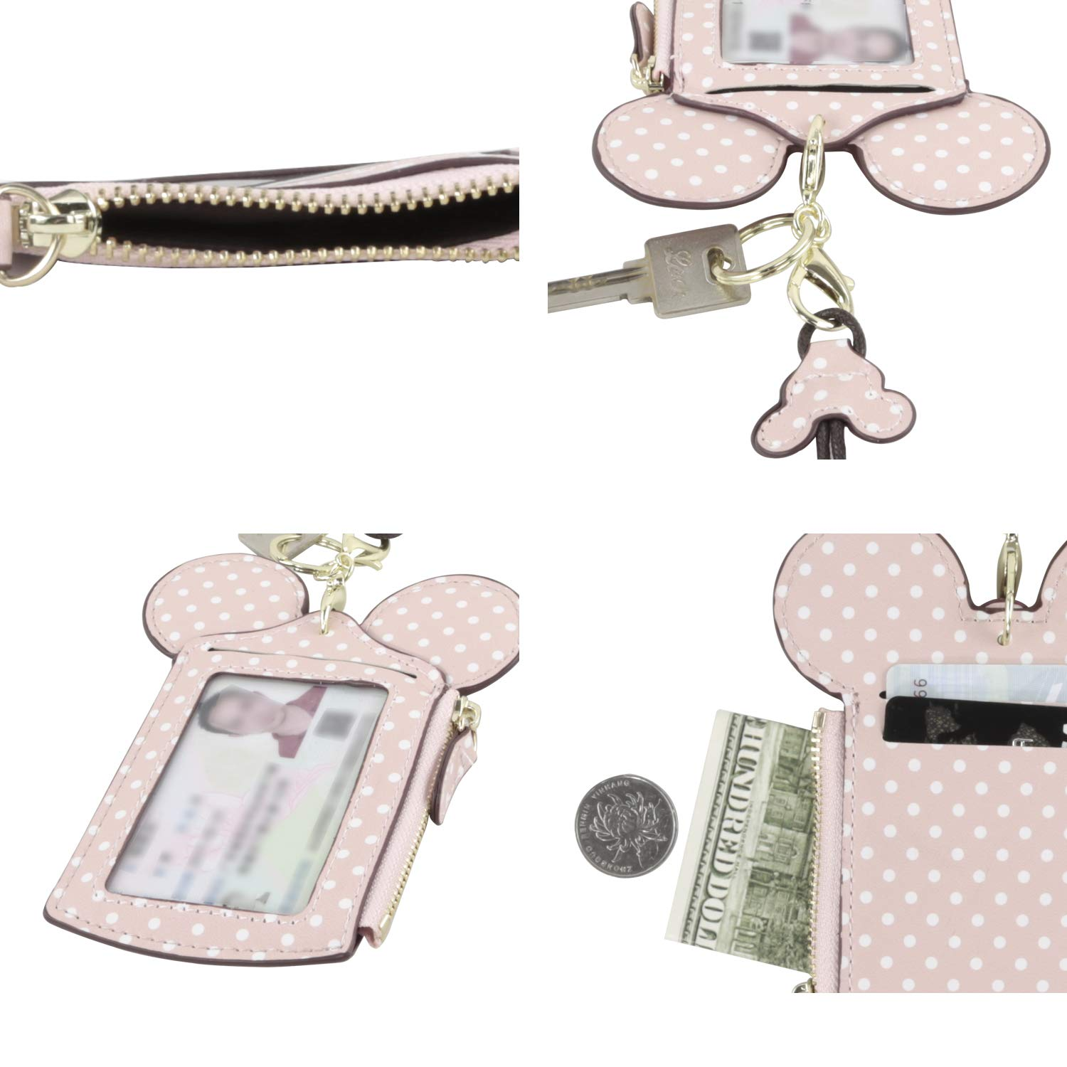 HXQ ID Holder With Lanyard Badge Holder,PU Leather newchic Cute Animal Shape neck wallet for Women
