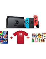 Nintendo Switch - Blu/Rosso Neon + Mario Tennis  Aces + T-Shirt N. Switch + Stickers Super Mario
