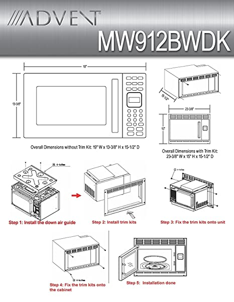 Amazon.com: Advent MW912BWDK Black Built-in Microwave Oven with ...