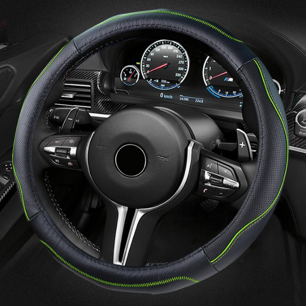 ECLEAR Genuine Leather Car Steering Wheel Cover Universal 15 inch//38CM Durable Anti-slip Breathable Odor-Free Protector for Auto//Truck//SUV//Van Black/&Green