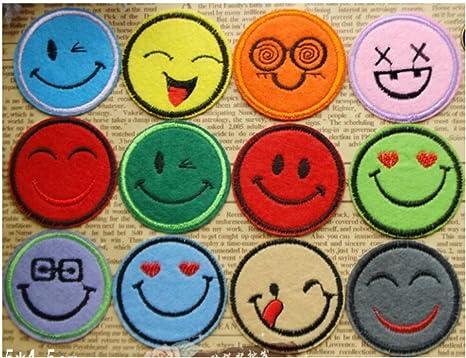 Hierro en parches – Emoji Estilo caras – para camisetas, pantalones vaqueros, mochilas y