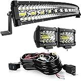 KEENAXIS 32 Inch LED Light Bar180W Spot Flood Combo LED Bar Offroad Driving Light+2Pcs 4 Inch Cube Pods Fog Lights…