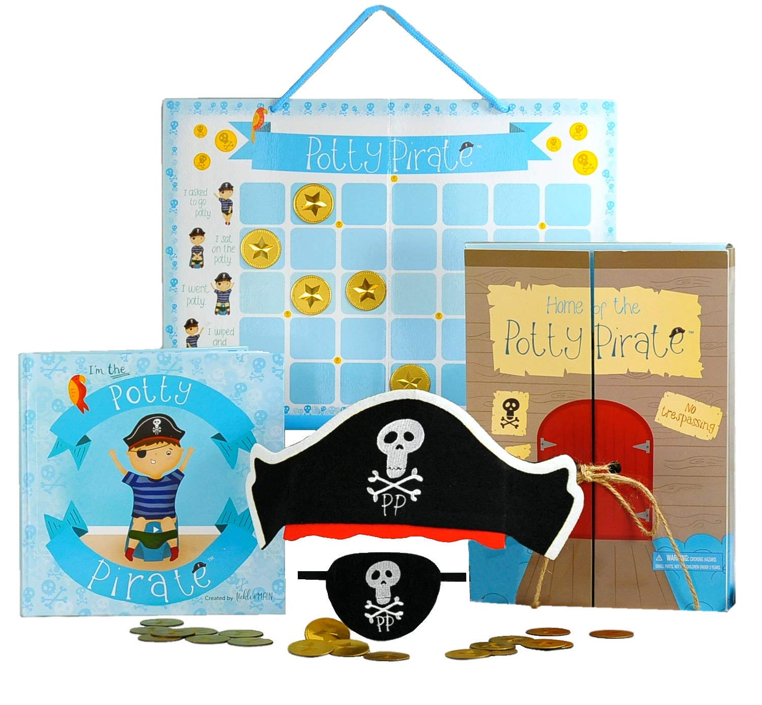 Pirate Potty Training Set with Book, Potty Chart, Reward Magnets, Pirate Hat and Patch for Toddler Boys - Comes in Pirate Ship Box. Tickle & Main