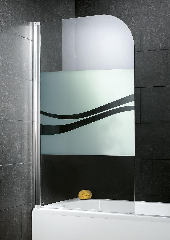 Pare bañera con tapa, pantalla bañera pare-douche, 80 x 140 cm, 1 contraventana, cristal Décor Liana, perfil aspecto cromado: Amazon.es: Bricolaje y herramientas