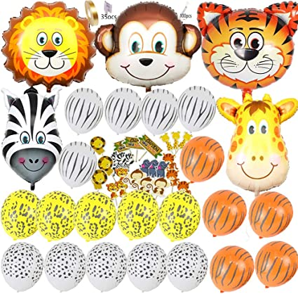 "Jungle Friends 11/"" Latex Balloons Birthday Animals Tiger Lion Giraffe Helium Air"