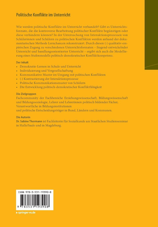 Politische Konflikte im Unterricht: Empirische Rekonstruktionen zu ...