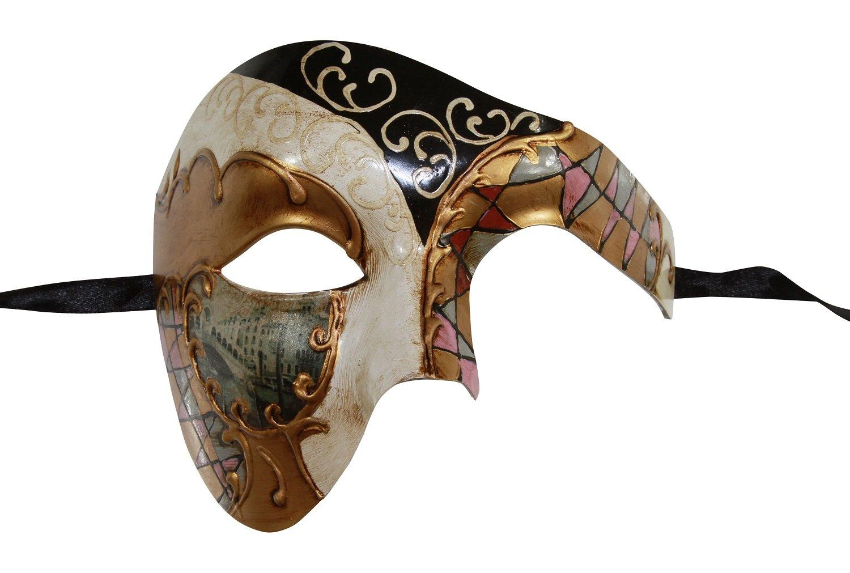 KAYSO INC Mosaic Phantom Of The Opera Venetian Masquerade Mask Unisex (Black)