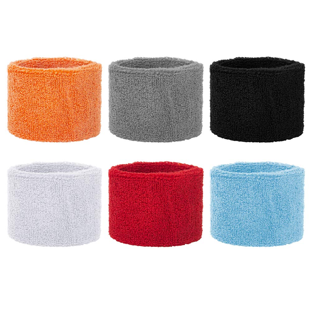GOGO 6 Pairs Wrist Sweatbands for Children 3 x 2-1//8 Cotton Wristband