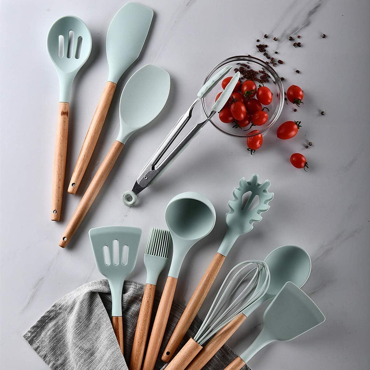 NCONCO Lot de 11 ustensiles de cuisine en silicone avec poign/ée en bois anti-adh/ésif r/ésistant /à la chaleur rose