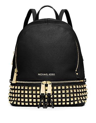4135cd960d61 Amazon.com: MICHAEL Michael Kors Rhea Studded Backpack (Black/Gold ...