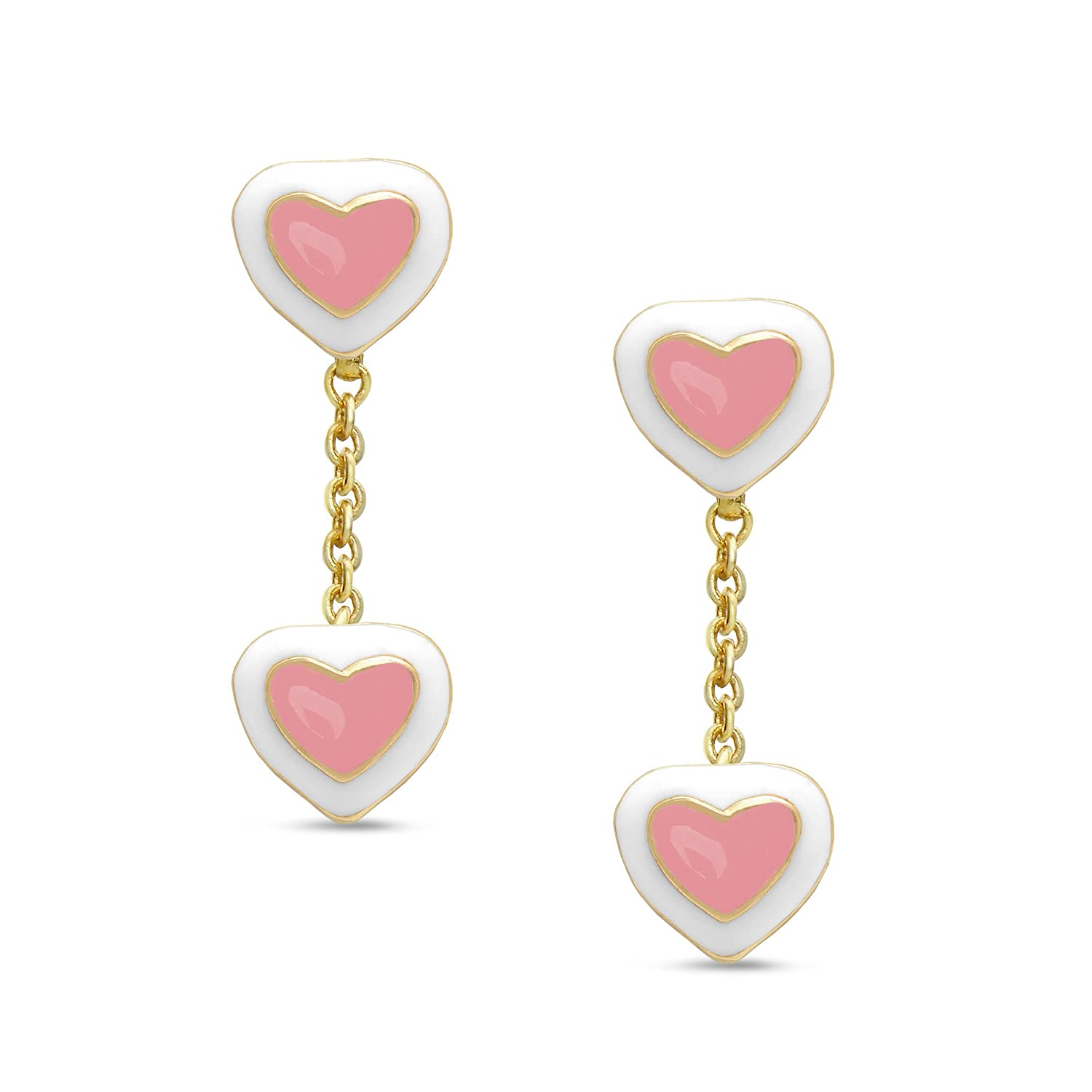 Jewelry for Girls Heart Dangle Earrings Gold Plated with Pink and White Enamel By Lily Nily