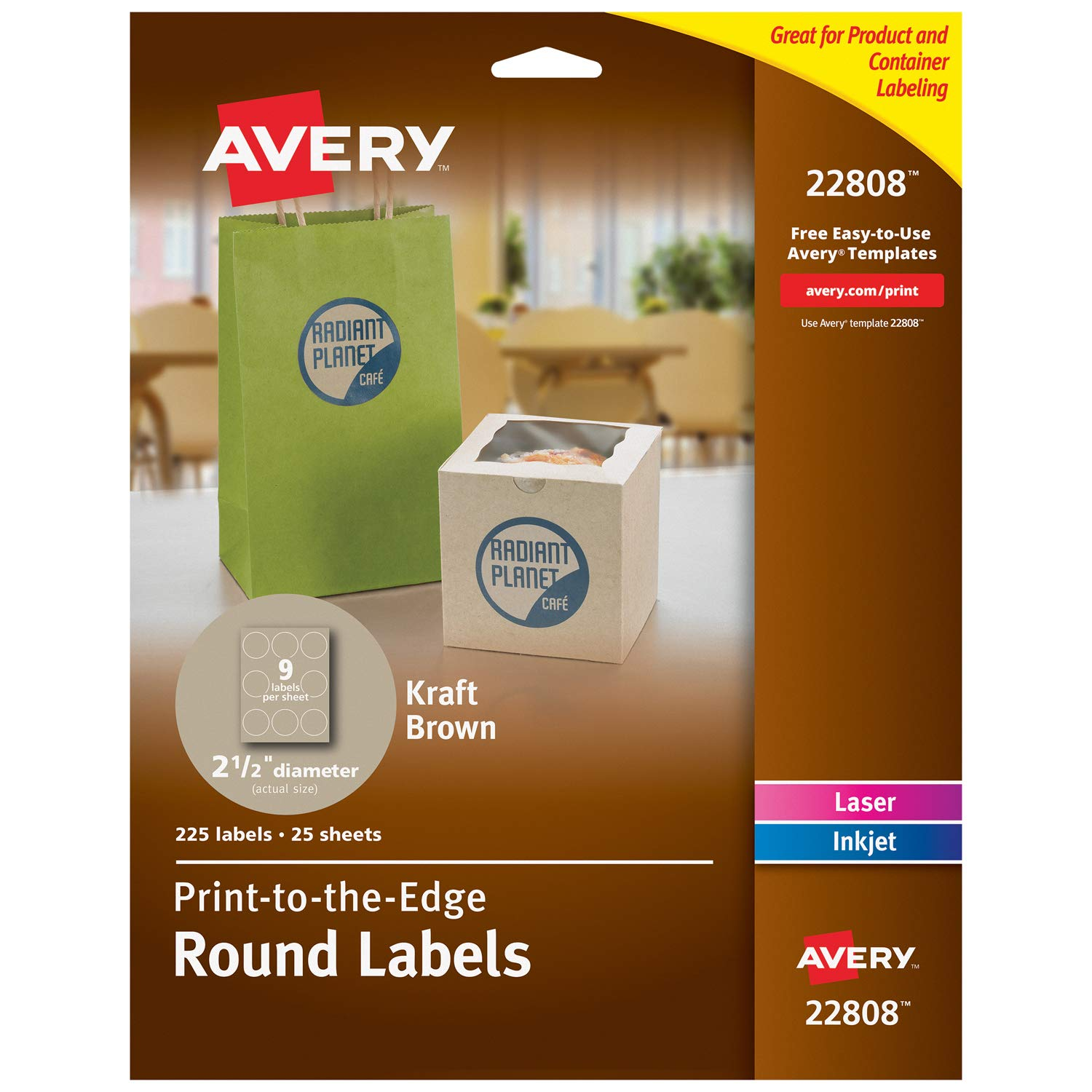 "Avery Round Labels for Laser & Inkjet Printers, 2.5"", 225 Kraft Brown Labels (22808)"