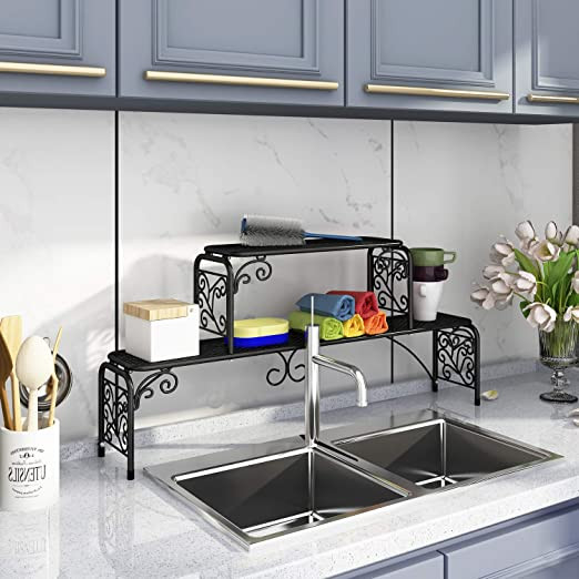 Homefort Scroll Over Sink Shelf Metal 2 Tier Storage Rack For Kitchen Accessroies Multi Purpose Shelf 36 02 W X6 02 D X15 95 H Black